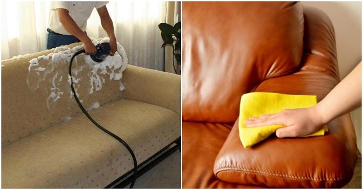 Mách mẹ cách làm sạch ghế sofa bằng nỉ và da nhàn tênh nhìn phòng khách tinh tươm đón Tết